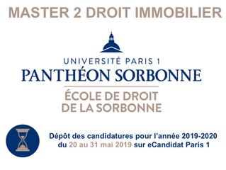 Candidatures en Master 2 Droit immobilier à Paris 1