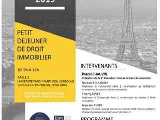 Petit-déjeuner de droit immobilier - 23 janvier 2019 - Pascal Chauvin