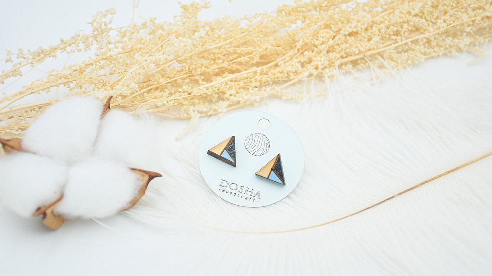 木製拼色耳環