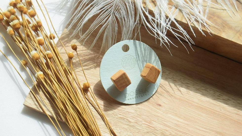 木製耳環-正方體