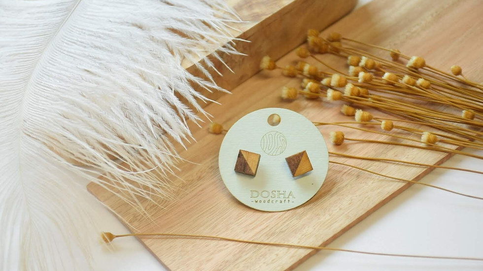 木製耳環-拼接正方粒