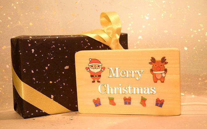 聖誕老人與鹿燈