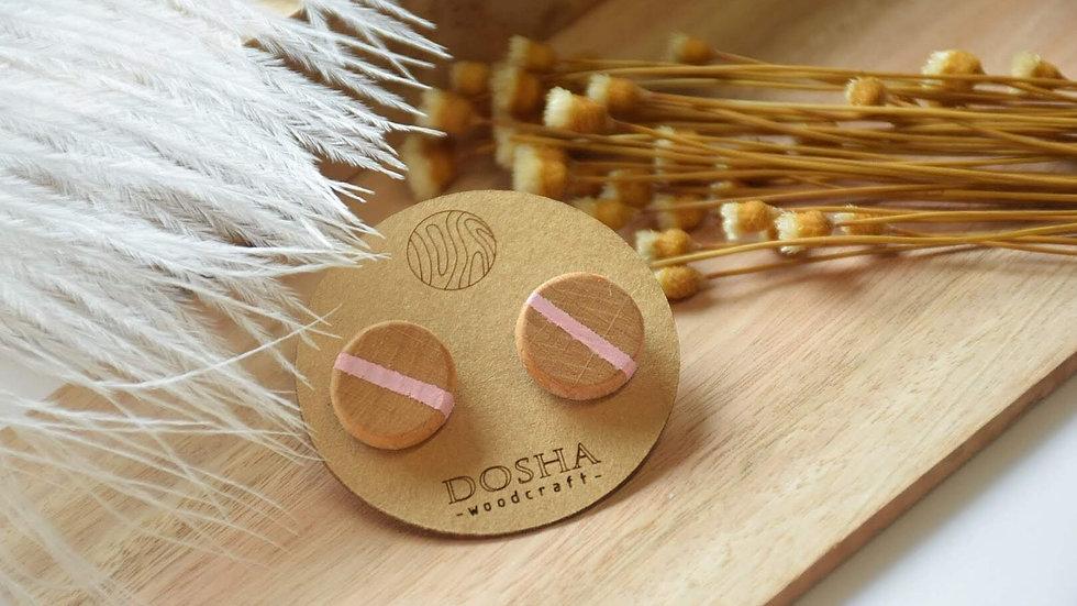 木製耳環-細圓形(粉間)