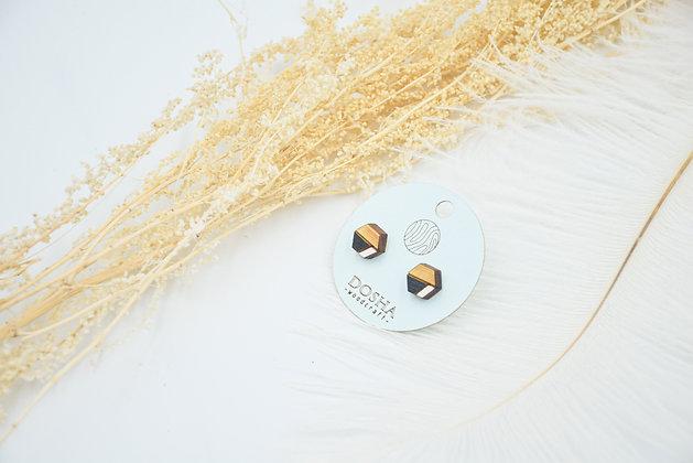 木製拼色耳環-白啡