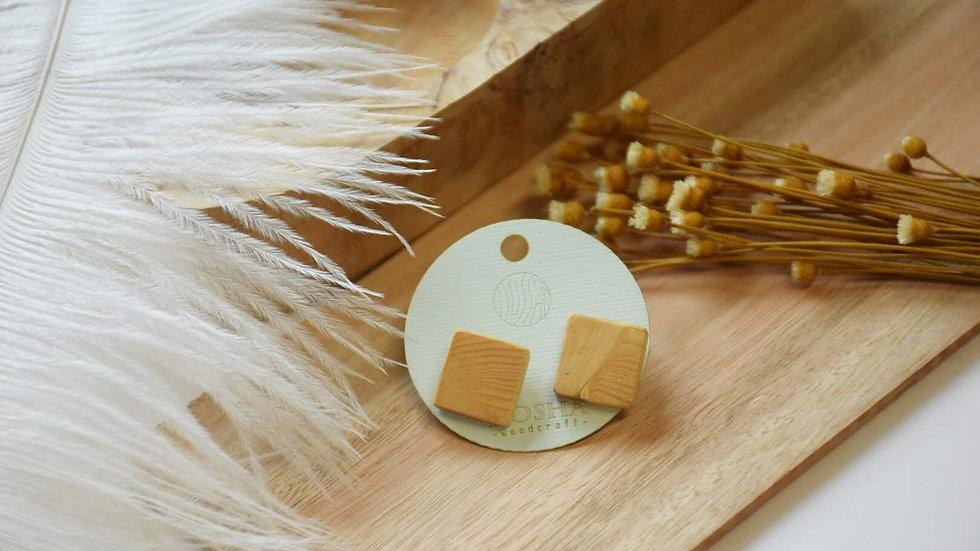 木製耳環-中正方形