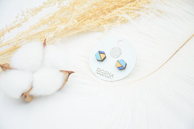 木製拼色耳環-深淺藍