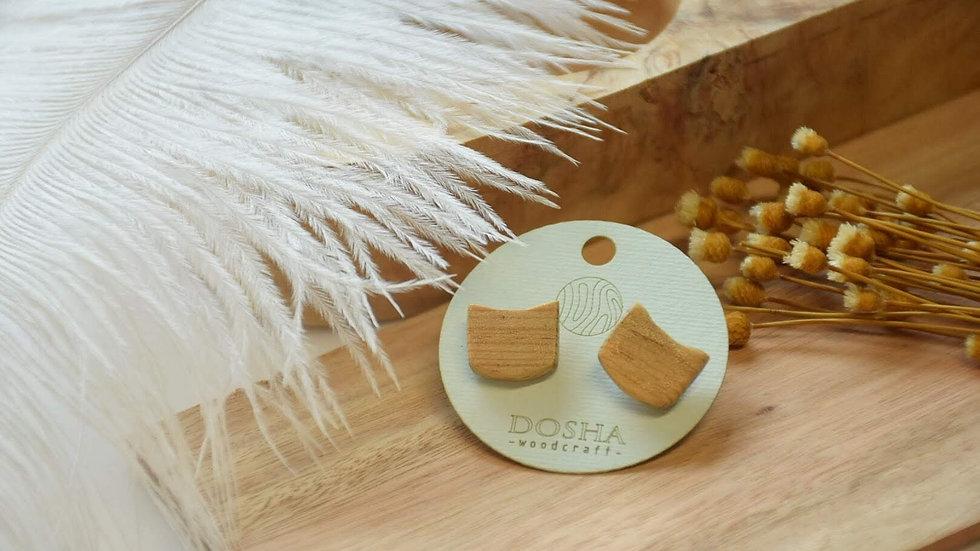 木製耳環-貓頭原色