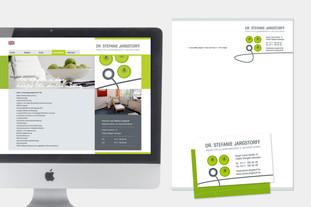 Internetseite und Geschäftspapiere