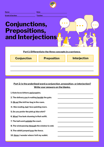 English- Conjunctions, Prepositions & In