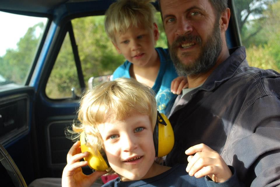 Bob in the plow truck with boys (2011)