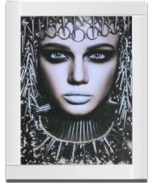 Lady on Mirrored Frame 95x75cm