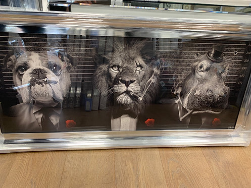 Cartel Mafia Trio on Chrome Scoop Frame 115x55cm