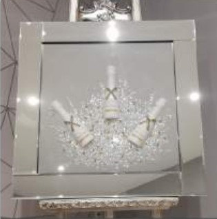 3D Silver Champagne Celebration on Mirrored Frame 55x55cm