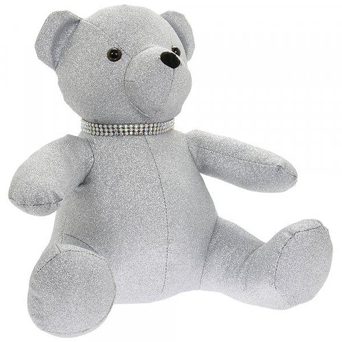 Large Sparkly Silver Bear Doorstop