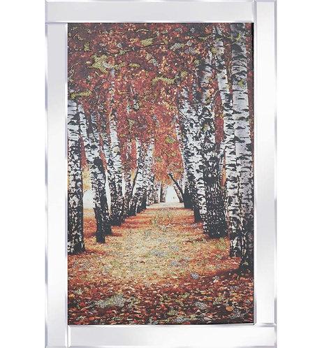Autumn Birch on Mirrored Frame