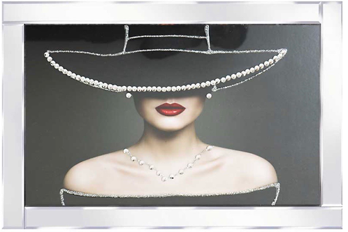 Lady with Pearl Hat on Mirrored Frame