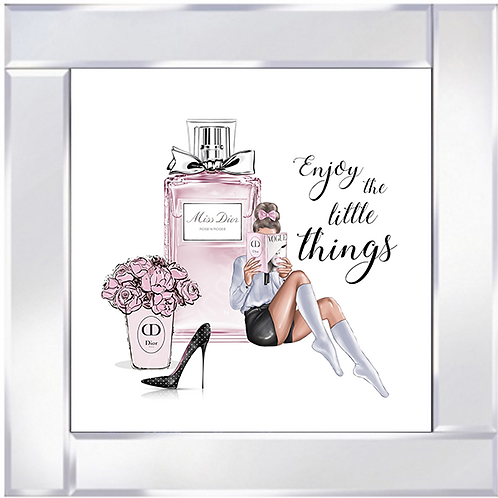 Enjoy the little things on Mirrored Frame 55x55cm