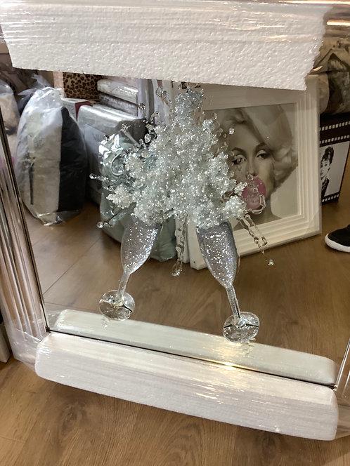 3D Champagne Flutes Mirror on Chrome Step Frame 75x75cm