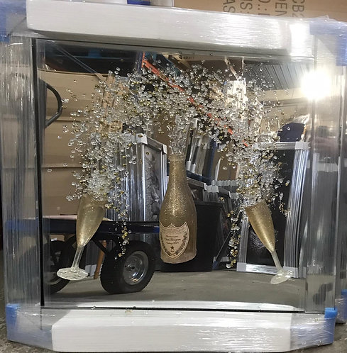 3D Gold Champagne Flutes on Mirrored Frame 55x55cm