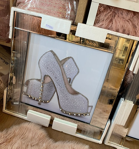 Diamond Silver Shoes on Mirrored Frame
