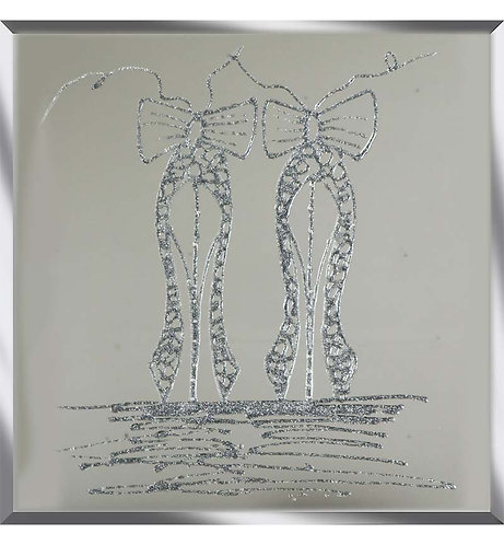 Ballet Shoes on Silver Mirror 75x75cm