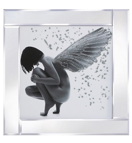 Bowed Down Angel on Mirrored Frame