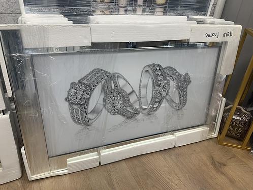Diamond Rings on Mirrored Frame