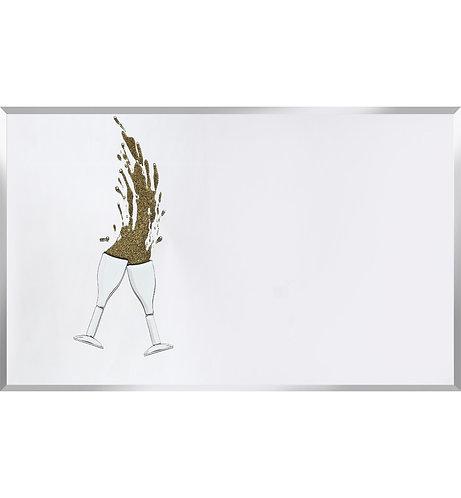 Cheers Gold Glitter on Silver Mirror 100x60cm