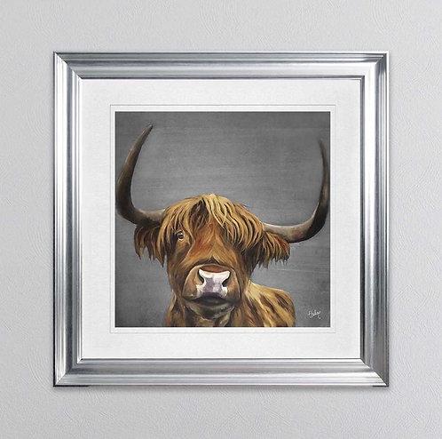 Idle Highland Cow Grey on Silver Venetian Frame 115x115cm