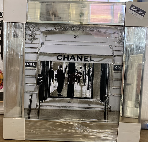 Chanel Shop Front on Mirrored Frame 55x55cm