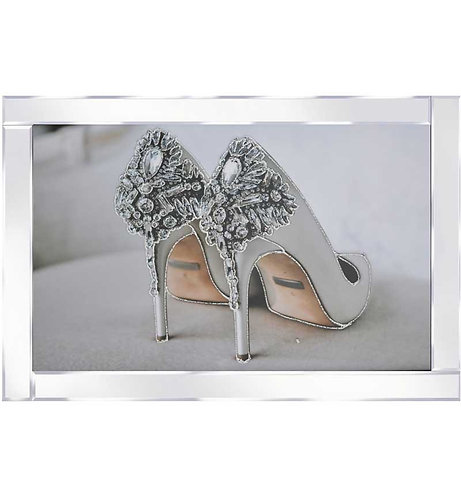Glitter Shoes on Mirrored Frame