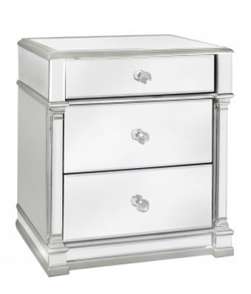 Olivia Silver 3 Drawer Side Table