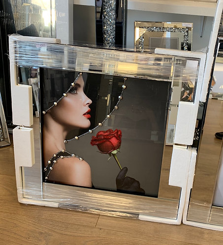 Lady & Rose on Mirrored Frame