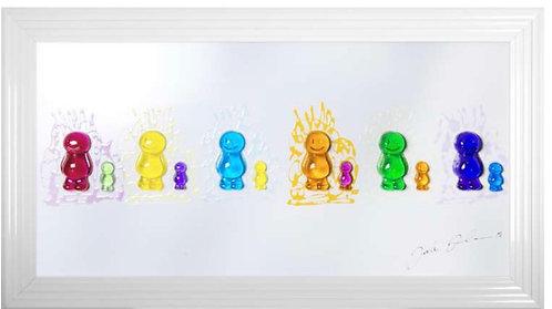 3D Jelly Babies White Step Frame 115x65cm