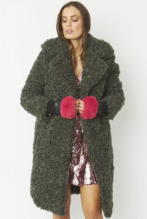 Cerise Pink Faux Fur Fingerless Gloves