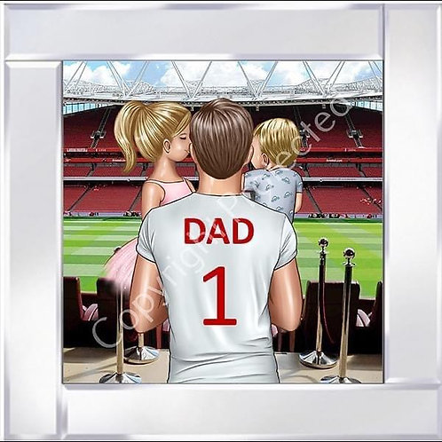No1 Dad on Mirrored Frame 55x55cm - Arsenal