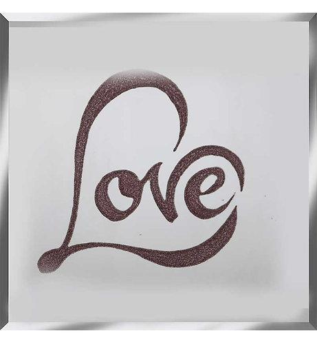 Love on Silver Mirror 75x75cm