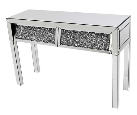 Angled Crushed Diamond 2 Drawer Console Table