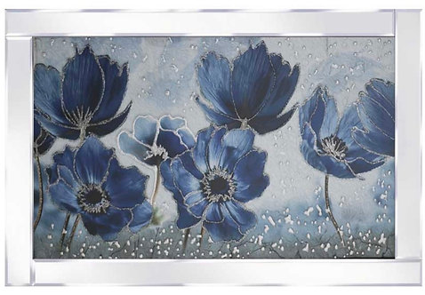 Blue Poppies on Mirrored Frame