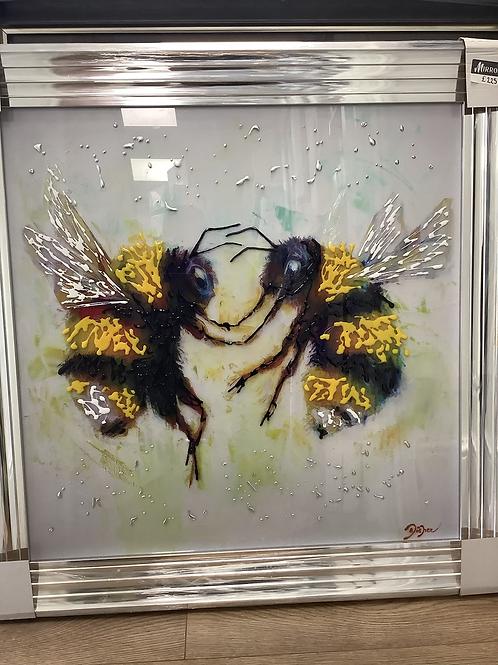 2 Bees on Venetian Frame 85x85cm