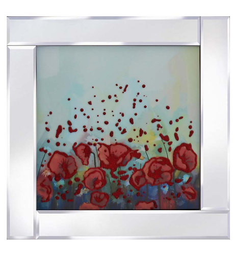 Abstract Flowers on Mirrored Frame