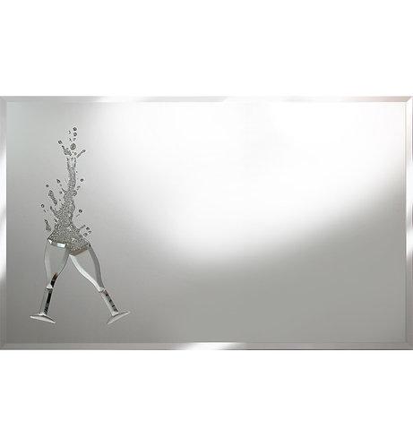 Cheers Silver Glitter on Silver Mirror 100x60cm