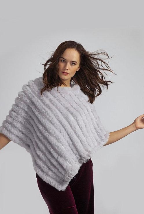 Light Grey Cashmere Blend Faux Fur Poncho