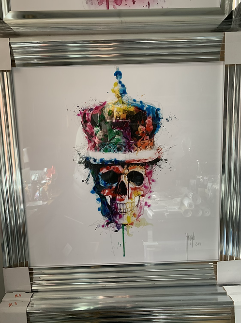 God Save The Queen on Chrome Stepped Frame 85x85cm