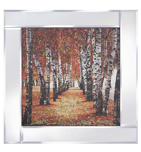 Autumn Tree Lined Path on Mirrored Frame