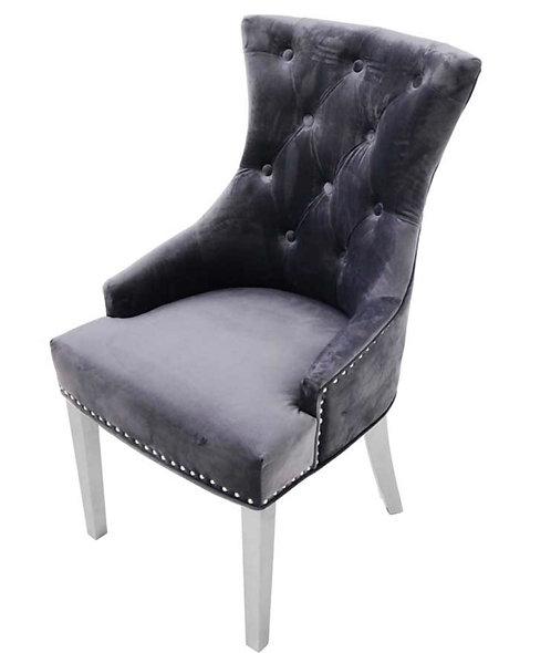 Dark Grey Ringback with Chrome Legs Chair