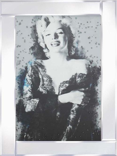 Marilyn Black Dress on Mirrored Frame 95x75cm