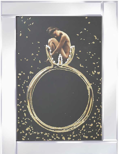 Lady in Solitare on Mirrored Frame 95x75cm