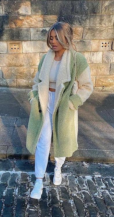 Faux Cream & Green Shearing Coat