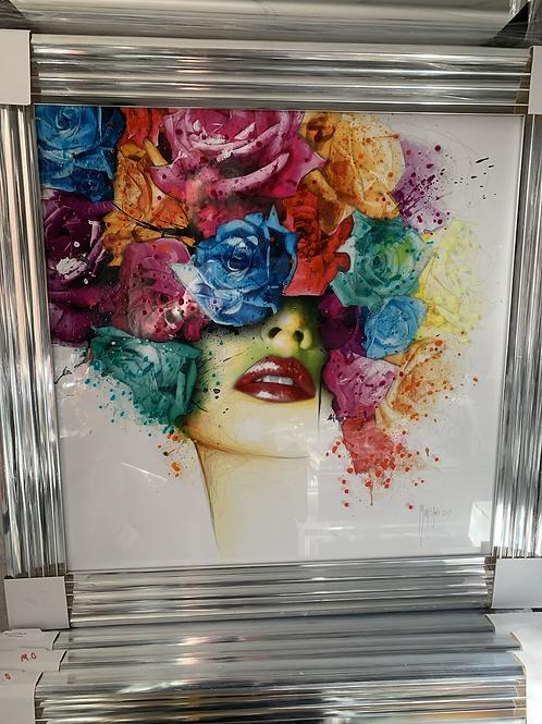 La Rose on Chrome Stepped Frame 85x85cm